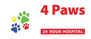 logo of 4 paws 24hr veterinary hospital in halifax nova scotia